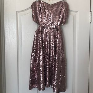 speckless Dresses - Sequin blush pink mini dress with cutouts